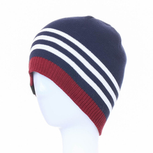 striped color custom navy blue plain knit floppy winter hat men