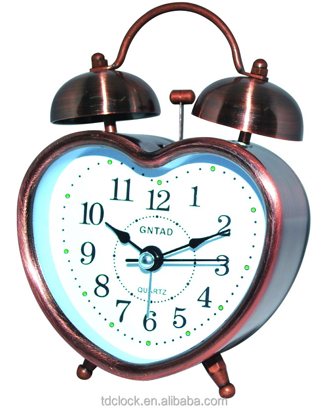 DIY vintage metal twin bell battery powered alarm clock with heart shape