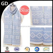 GDKK0051 fashion blue color print deer pattern warm cashmere Christmas scarf for girl