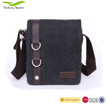 Promotional Vertical Men Canvas Messenger Shoulder Bag For Ipad With Leather Tirm From China Manufacturer