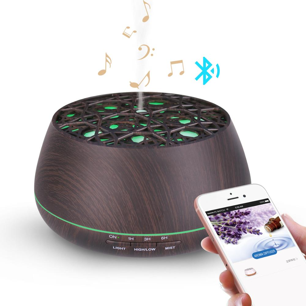 China Best Ultrasonic wood <strong>grain</strong> 400ml aromatherapy essential oil aroma diffuser with bluetooth speaker
