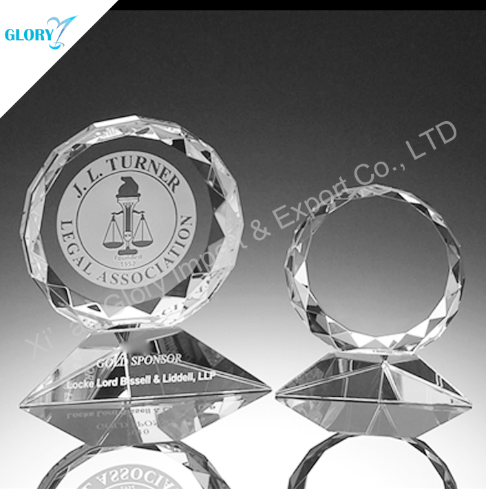High quality crystal trophy award plaque from China