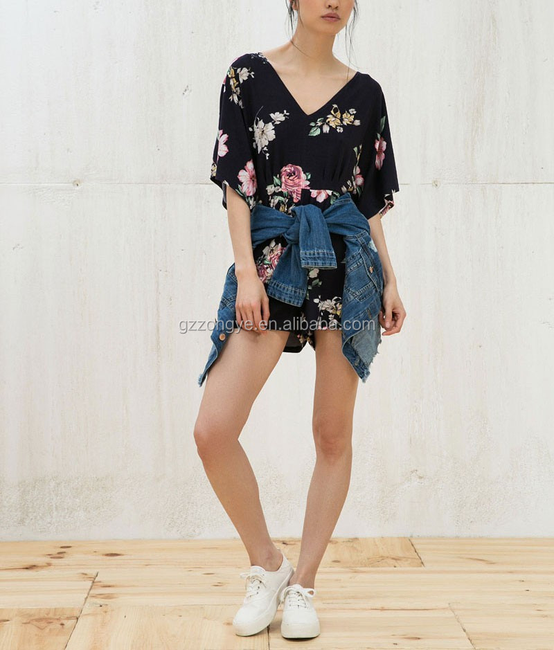 Bat sleeve printed Rompers short Jumpsuits For Women 2016 Sexy
