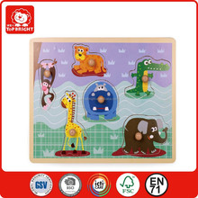 Forest graphic wooden puzzle with wooden pegs/Wooden Shape puzzle / wooden puzzle toy factory for kids--Top Bright
