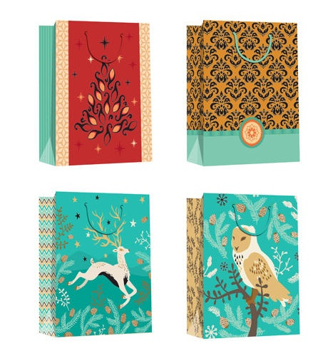 factory price shopping carry Christmas gift tote paper bag / Lovely printing paper christmas elk storage bag