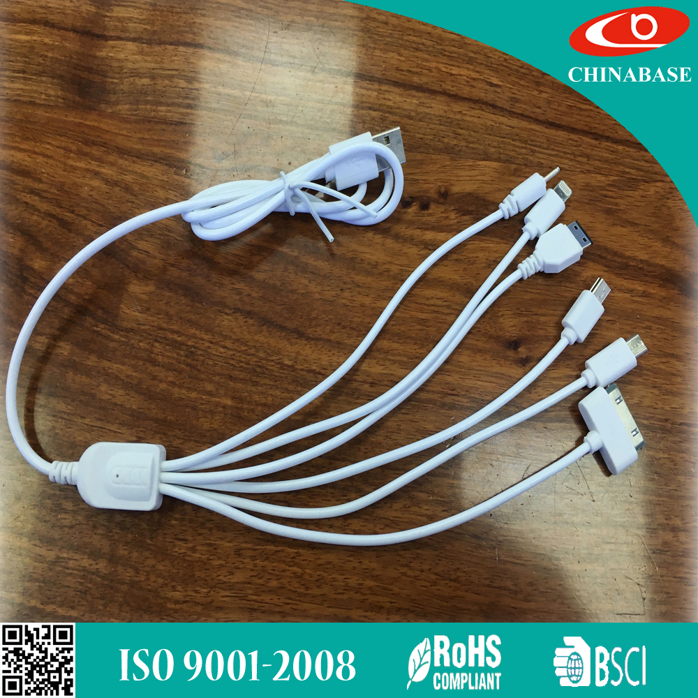 New Colorful Braided 2 in 1 Multifunction Micro Usb Cable for Iphone and for Android Mobile 5 in 1 USB cable