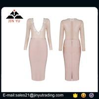 2017 V neck longsleeve midi one set vestidos de novia hecho en china