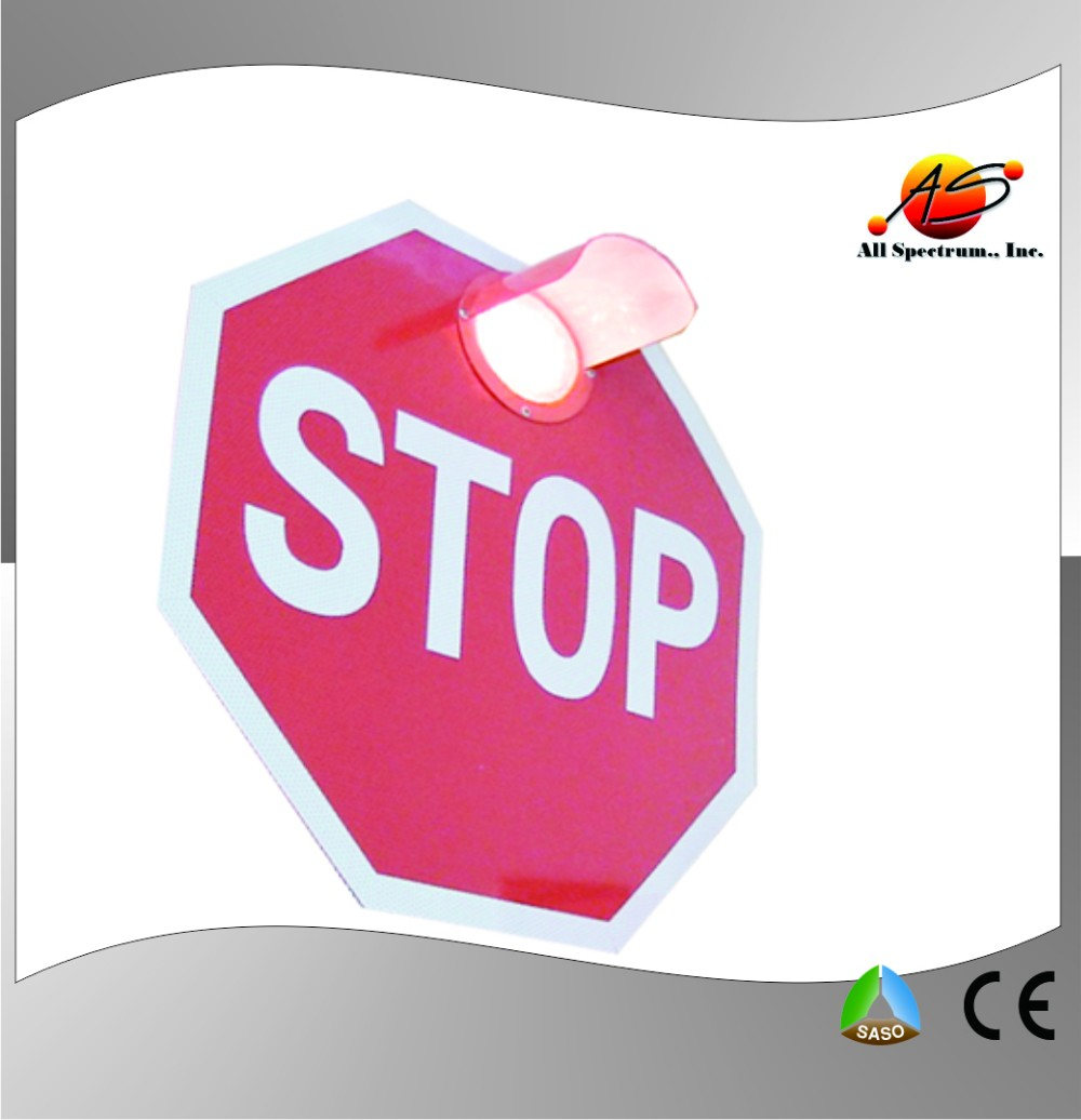 hexagon road sign with lens lighted stop sign solar led warning sign