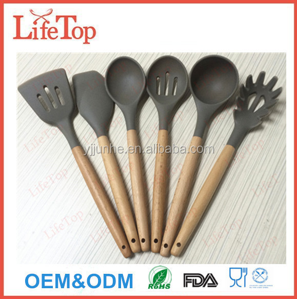 2016 Popular FDA Approved Bamboo Silicone Kitchen Utensils Set