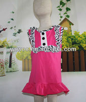 2015Wholesale Cotton Hotpink Girls Halloween Dance For Kids Zebra Botton Ruffles Sleeveless Knit Cotton Dresses