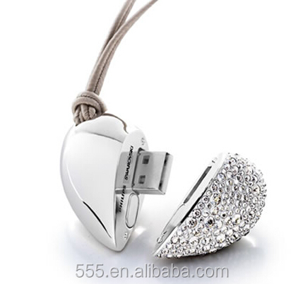 Heart Shape Crystal Jewelry Diamond USB Flash Drive 4GB 8GB 16GB