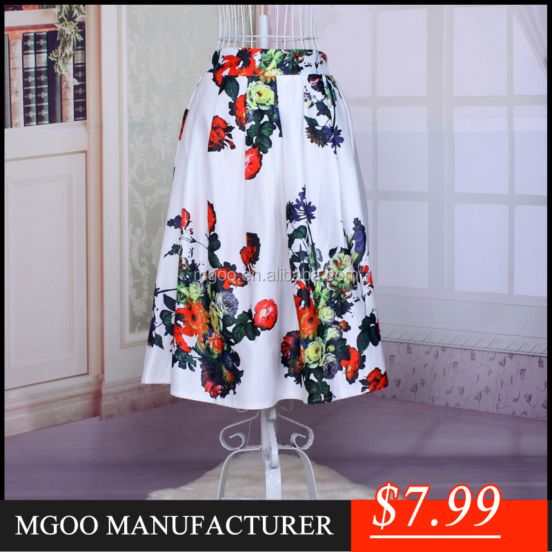 New Arrival Women White Floral Midi Skirt For Party Muslim Tunic Pleated Satin Digital Print Skirts A398