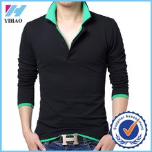 Dongguan Yihao mens fashion t shirts High quality 2015 new fall fashion men's long sleeve T shirt lapel 3XL 4XL 5XL