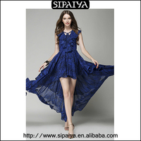 European style long back royal blue chiffon indian cocktail dress