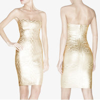 Restock Top Quality Gold Printed 2015 New Arrival Sexy Women Strapless HL Bandage Dress Celebrity Party Dress