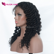Deep Wave 100% Full Lace Human Hair Wigs For White Women Natural Virgin Hair Lace Front Wigs