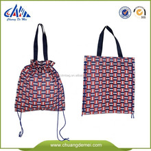 BSCI recycled pp non woven drawsting bag with handle