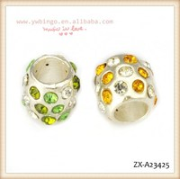 Fashion big hole beads, crystal with green and white, white and yellow crystals with each other ,african beads jewelry ZX-A23425
