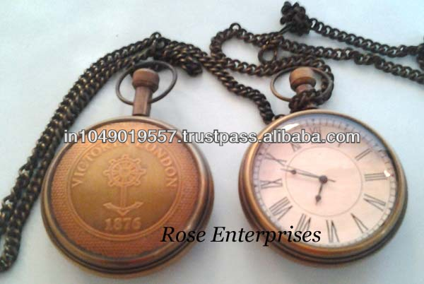 Antique Nautical Pocket Watch with chain & Holder