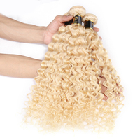Short Curly Brazilian Hair Extensions,Blonde Curly Hair Extension, Curly Human Hair Bundles