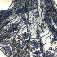 2016 Top-end Handmade embroidery beaded bridal lace fabric nave blue beaded sequined lace fabric wholesale FB0062