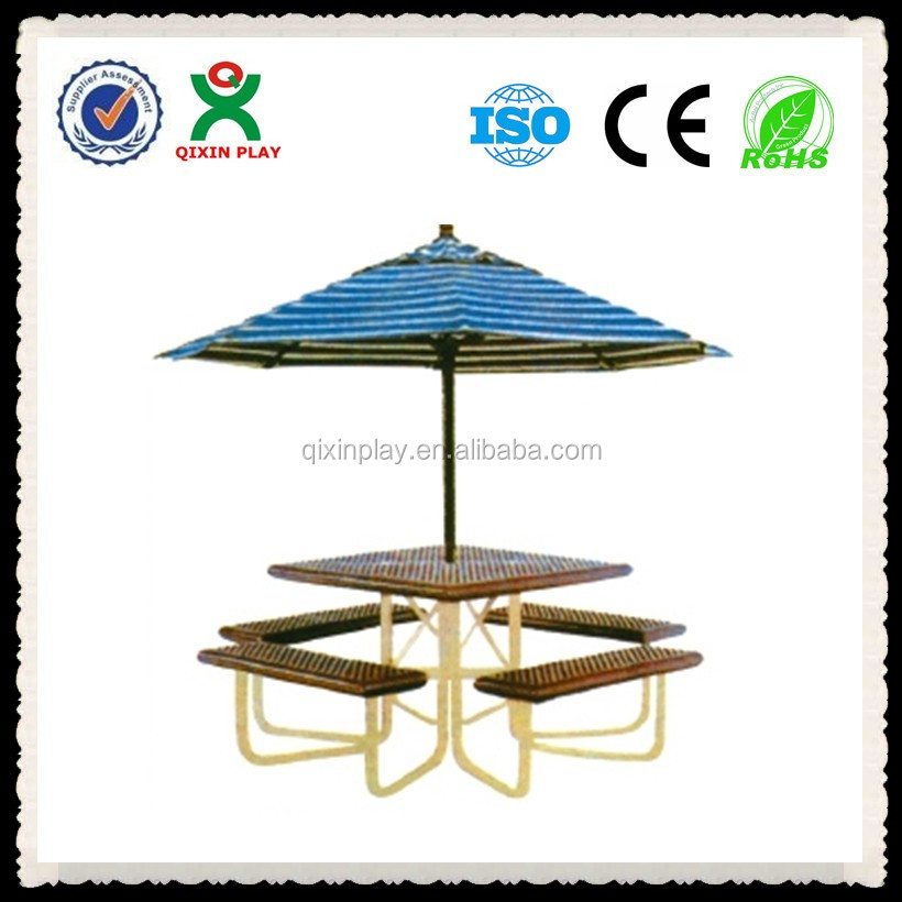 table and bench with umbrella for starbucks/restaurant/picnic(QX-146L)