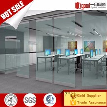 Office use frameless clip stacking and sliding folding glass partition door