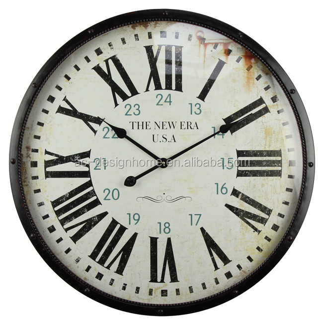 """THE NEW ERA"" IRON/GLASS/WOODEN WALL CLOCK"