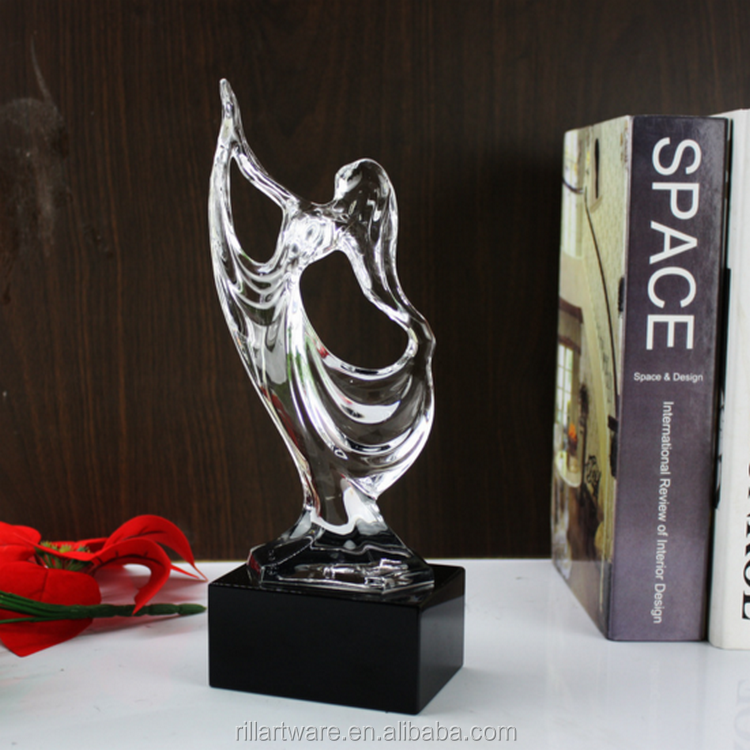 Graceful carving abstract dancer crystal figurine ,dance competition crystal trophy for awards souvenir