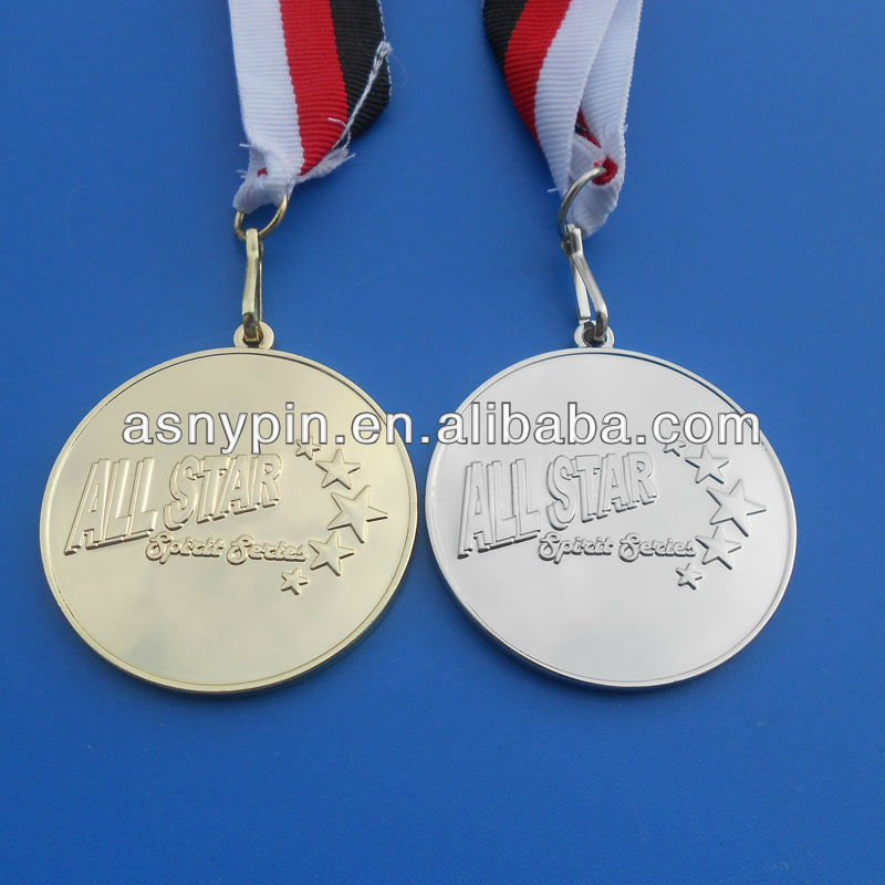 All star spirit Series gold and silver medallionmedal special clip series medal with red, black, white ribbon