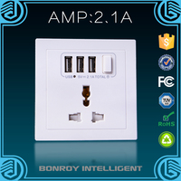 Certification CE RoHS China supplier 1 gang universal wall switch with 3 usb ports