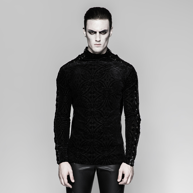 <strong>T</strong>-467 Vintage Mens Gorgeous Gothic BlackTight Fit Long Sleeve Plain Band <strong>T</strong>-<strong>shirt</strong>