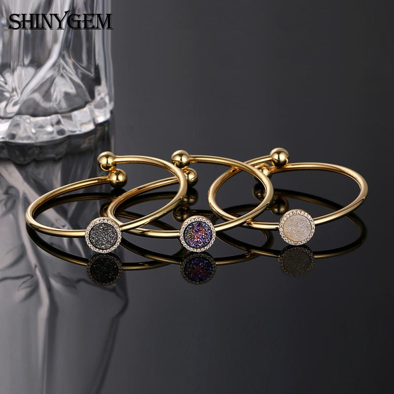 Fashion gold plated natural round loose gemstone crystal druzy charms costume bisuteria jewelry bracelet bangle for women