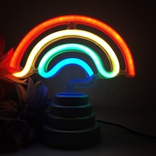 LED neon night lamp 3D rainbow shape usb battery power night light for children