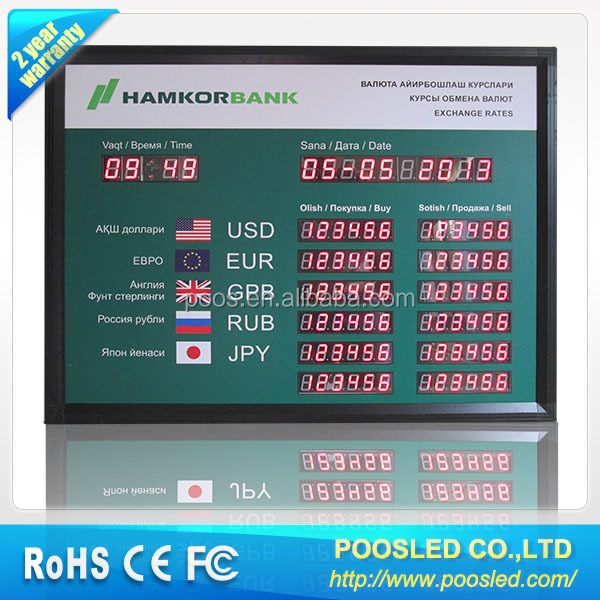 led rate exchange screen \ led rate bank signage \ led rate screen