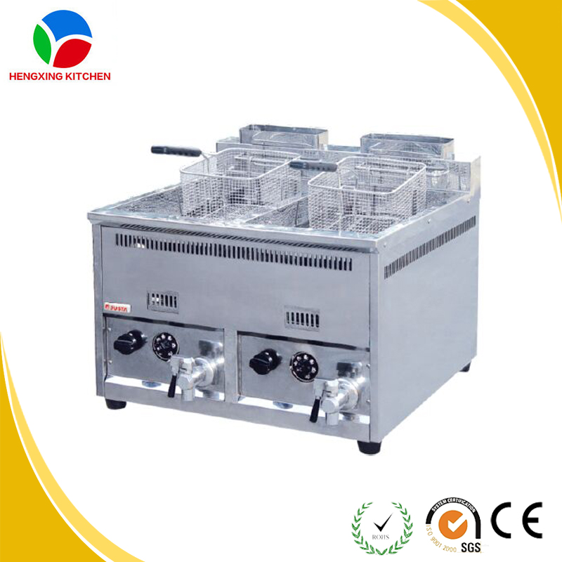 Double commercial deep fryer/Counter top pressure fryer/Lpg gas deep fryer