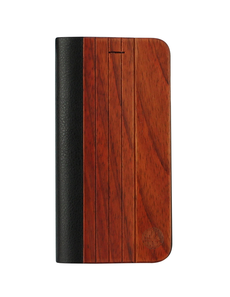Leather Flip Cover Wood Bamboo Case For iPhone 6plus