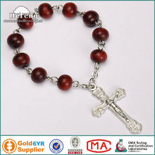 Religious annatto red wood beads finger rosary ring