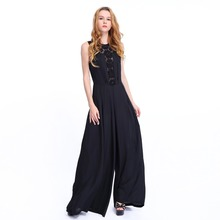 sleeveless black jumpsuit lace top wide leg jumpsuits custom women jumpsuits and rompers