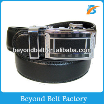 Beyond Classical Black Genuine Leather Slide Belt for Men with Engraved Logo