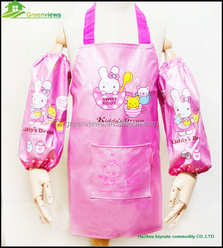 Wholesale PVC Plastic Kids Cooking Apron with sleeves Cotton Bib Apron
