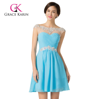 Wholesale Sweetheart Light Blue Beadings Chiffon Cap Sleeve Cocktail Dress CL7536-1