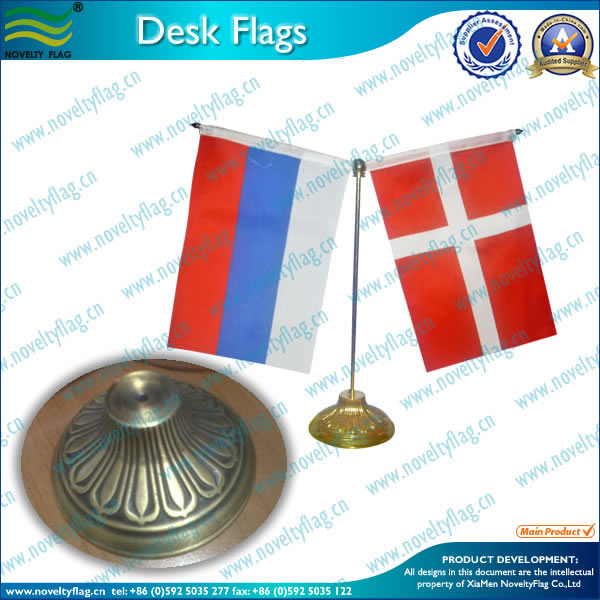 metal flag pole and base table flag