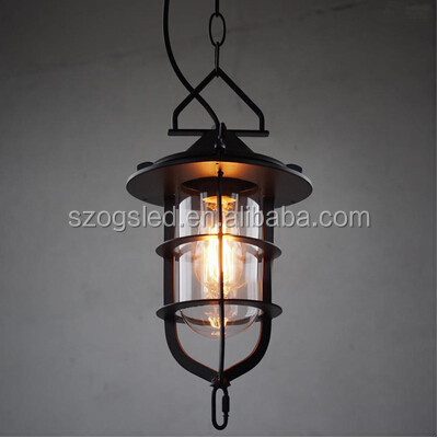 Vintage Squirrel Cage Glass+ Iron Pendant Light
