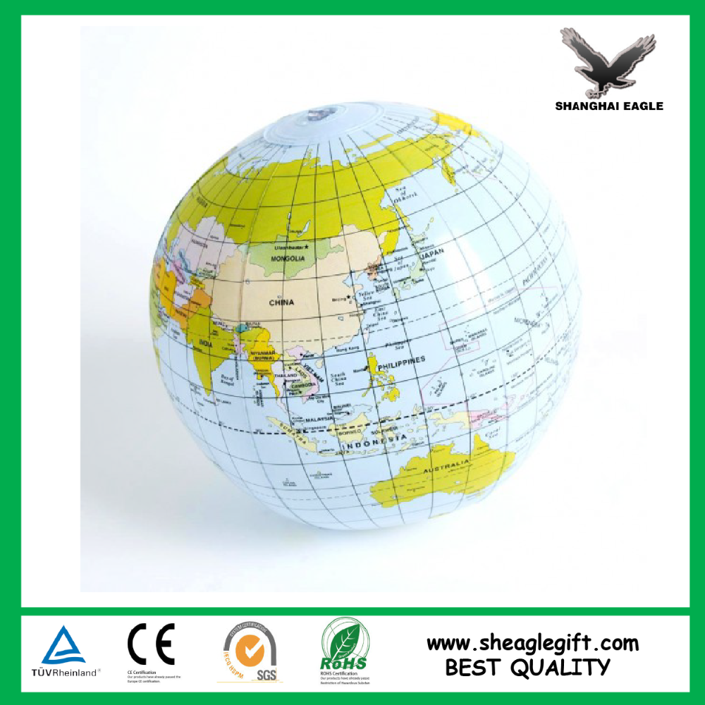 Customized cheap logo printed inflatable earth globe beach ball