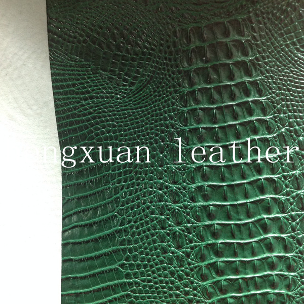 Green Imitation Crocodile Leather With Real Leather Feeling