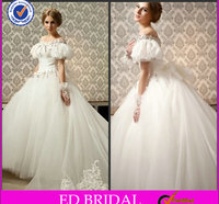 Elegant White Tulle Off-the-Shoulder Ball Gown Crystal Rhinestone Long Train Wedding Dresses With Puffy Sleeves