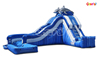 Commercial Uses Inflatable Blue Dolphin Side Loader Water Slide with Pool