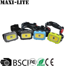 Hot sell Super Bright 3W COB LED Headlamp with 7 Lighting Modes dual light source headlamp