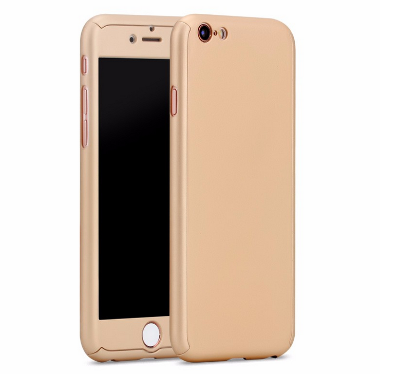 360 Degree Full Cover Plastic Hard Case Shockproof Case with Tempered Glass Screen Protector for iPhone 7 7 Plus